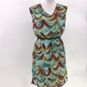 Ann Taylor LOFT dress brown blue print semi sheer